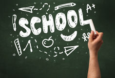 Hand writing on school blackoard Stock Image