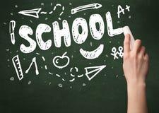 Hand writing on school blackoard Royalty Free Stock Photography
