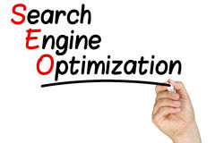 Hand Writing Search Engine Optimization Whiteboard Royalty Free Stock Photo