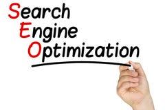 Hand Writing Search Engine Optimization Whiteboard royalty free stock photo