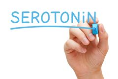 Hand Writing Serotonin With Blue Marker. On transparent wipe board. Serotonin is neurotransmitter or hormone, also known as happy chemical stock photography