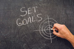 Hand writing Set Goals topic on chalkboard.  Royalty Free Stock Image