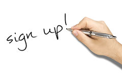 Hand Writing Sign Up Ballpoint Stock Image