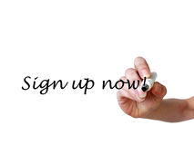 Hand writing Sign up now! with black marker on transparent white. Board stock images