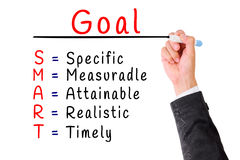 Hand writing smart goal isolate on white Stock Image