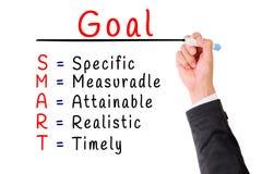 Hand writing smart goal isolate on white Stock Image