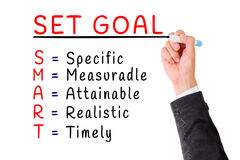 Hand writing smart goal isolate on white Royalty Free Stock Photography