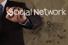 Hand writing social network structure with crumpled recycle back Stock Images