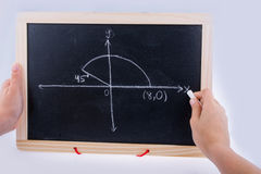 Hand writing solution to maths  problem on board Stock Photography