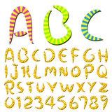 Hand writing stripes font. Funny hand writing stripes font Stock Image