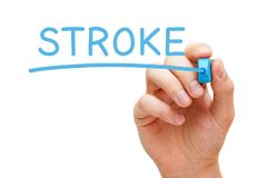 Stroke Handwritten With Blue Marker royalty free stock image