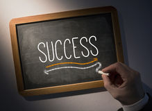 Hand writing Success on chalkboard Royalty Free Stock Photography