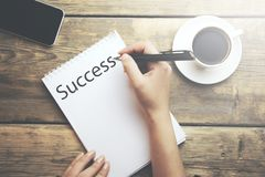 Success on notebook royalty free stock photo