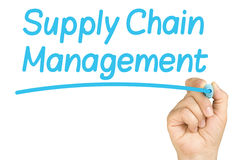 Hand Writing Supply Chain Management Whiteboard. Female hand writing and underlining supply chain management with light blue felt tip or marker on a clear glass Stock Photo