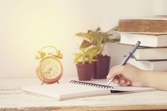 Hand writing on table Royalty Free Stock Photo