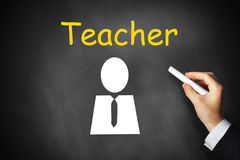 Hand writing teacher on black chalkboard symbol Royalty Free Stock Photo