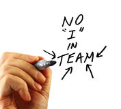 Hand writing team message Royalty Free Stock Image