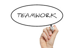 Hand writing teamwork Stock Images
