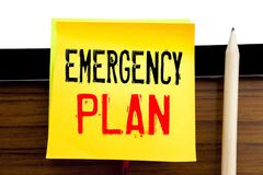 Hand writing text caption inspiration   Emergency Plan. Business concept for Disaster Protection written on sticky note paper on t. Hand writing text caption Royalty Free Stock Photo