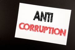 Hand writing text caption inspiration showing Anti Corruption. Business concept for Bribery Corrupt Text written on sticky note, b. Lack background copy space Stock Images
