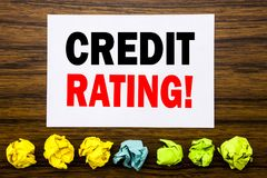 Hand writing text caption inspiration showing Credit Rating. Concept for Finance Score History Written on sticky note , with stick. Hand writing text caption royalty free stock photos
