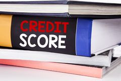 Hand writing text caption inspiration showing Credit Score. Business concept for Financial Rating Record written on the book on th. Hand writing text caption royalty free stock photos