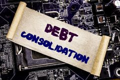 Hand writing text caption inspiration showing Debt Consolidation. Business concept for Money Loan Credit Written on sticky note, c. Hand writing text caption Stock Photo