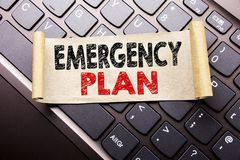 Hand writing text caption inspiration showing Emergency Plan. Business concept for Disaster Protection written on sticky note pape. R on dark keyboard background Stock Images