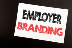 Hand writing text caption inspiration showing Employer Branding. Business concept for Brand Building written on sticky note, black. Background copy space royalty free stock image