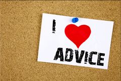 Hand writing text caption inspiration showing I Love Advice concept meaning Suggestion guidance concept Loving written on sticky n. Ote, reminder  background Stock Image