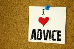 Hand writing text caption inspiration showing I Love Advice concept meaning Suggestion guidance concept Loving written on sticky n. Ote, reminder  background Stock Photo