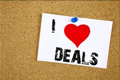 Free Hand Writing Text Caption Inspiration Showing I Love Deals Concept Meaning Advertising Deal Loving Written On Sticky Note, Reminde Stock Photos - 105043343