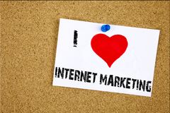 Hand writing text caption inspiration showing I Love Internet Marketing concept meaning Technology Strategy Design Loving written Stock Photo