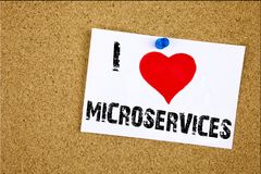 Hand writing text caption inspiration showing I Love Microservices concept meaning Micro Services Loving written on sticky note, r Royalty Free Stock Photography