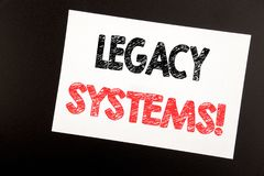 Hand writing text caption inspiration showing Legacy Systems. Business concept for Upgrade SOA Application written on sticky note,. Black background copy space Royalty Free Stock Images