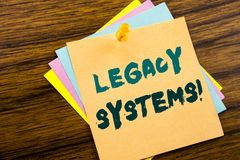 Hand writing text caption inspiration showing Legacy Systems. Business concept for Upgrade SOA Application written on sticky note. Paper on wooden background Royalty Free Stock Photos