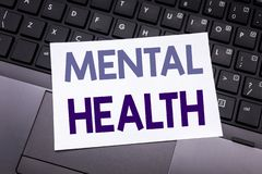 Hand writing text caption inspiration showing Mental Health. Business concept for Anxiety Illness Disorder written on sticky note. Paper on black keyboard royalty free stock image