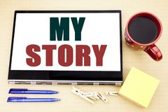 Hand writing text caption inspiration showing My Story. Business concept for Telling Tell About You written on tablet laptop. Offi. Hand writing text caption Stock Photos