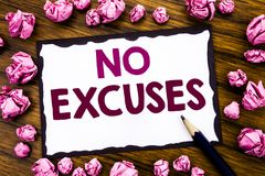 Hand writing text caption inspiration showing No Excuses. Business concept for Stop Ban for Excuse Written on sticky note paper, w. Ooden background folded pink Royalty Free Stock Image