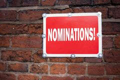 Hand writing text caption inspiration showing Nominations concept meaning Election Nominate Nomination written on old announcement. Road sign with background Stock Images