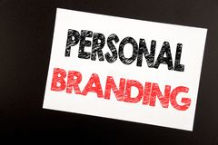 Hand writing text caption inspiration showing Personal Branding. Business concept for Brand Building written on sticky note, black. Background copy space stock image