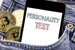 Hand writing text caption inspiration showing Personality Test. Business concept for Attitude Assessment Written phone mobile phon. E, cellphone placed in man royalty free stock images
