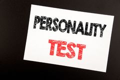 Hand writing text caption inspiration showing Personality Test. Business concept for Attitude Assessment written on sticky note, b. Lack background copy space stock photography