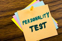 Hand writing text caption inspiration showing Personality Test. Business concept for Attitude Assessment written on sticky note pa. Per on wooden background stock photo