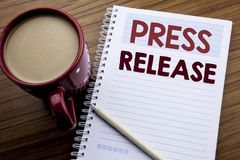 Free Hand Writing Text Caption Inspiration Showing Press Release. Business Concept For Statement Announcement Message Written On Note P Stock Photos - 110990473