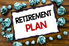 Hand writing text caption inspiration showing Retirement Plan. Business concept for Pension Finance Written on sticky note paper, Royalty Free Stock Image