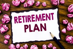 Hand writing text caption inspiration showing Retirement Plan. Business concept for Pension Finance Written on sticky note paper, Royalty Free Stock Photography