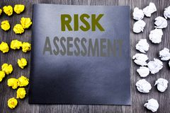 Hand writing text caption inspiration showing Risk Assessment. Business concept for Safety Danger Analyze Written on notepad note. Notebook wooden background royalty free stock image
