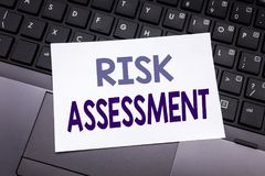 Hand writing text caption inspiration showing Risk Assessment. Business concept for Safety Danger Analyze written on sticky note p. Aper on black keyboard stock images