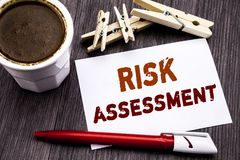 Hand writing text caption inspiration showing Risk Assessment. Business concept for Safety Danger Analyze written on sticky note p. Aper on wooden wood Royalty Free Stock Image